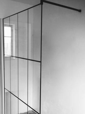 steel look douchewand - Antwerpen - mijnglaswinkel